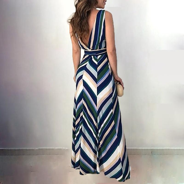 Women Fashion Wrapped Long Chevron Stripes Backless Belted Casual Maxi Dress