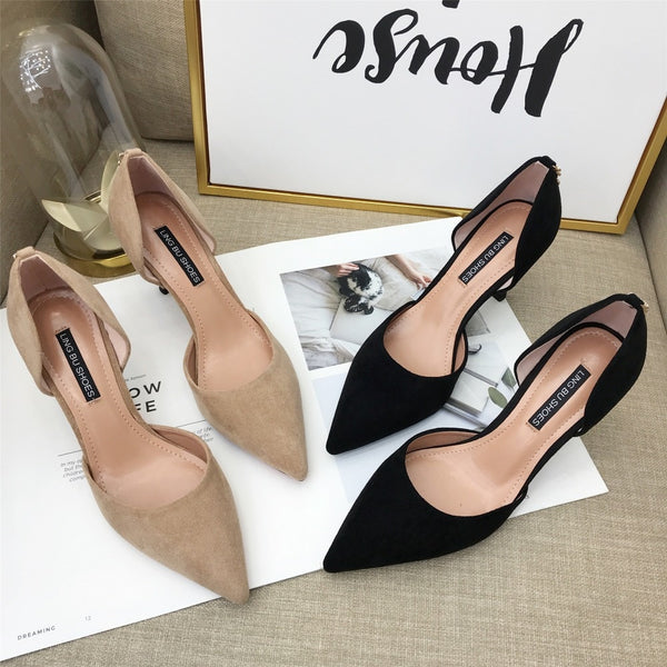 Pointed Toe Slip On Faux Suede Basic Pump Heels