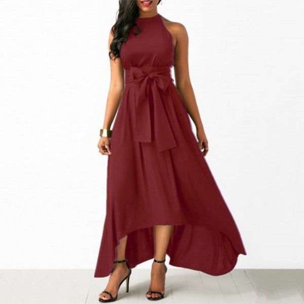 Sexy Halter Maxi Peplum Dress In Multiple Colors