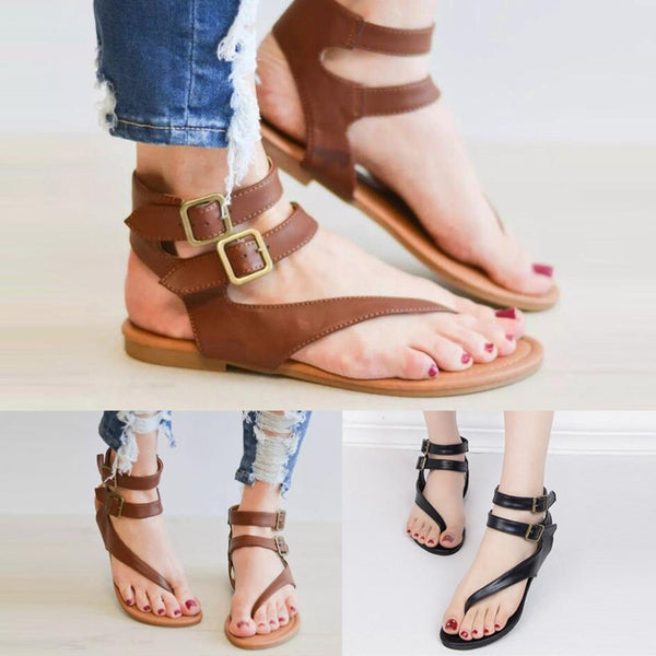 44b8d7727 Women s Roman Gladiator Buckle Strap Flat Heel Flip Flop Sandals Shoes