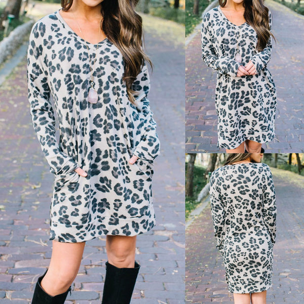 Women O-Neck Leopard Print Pocket Long Sleeve Ladies Dress