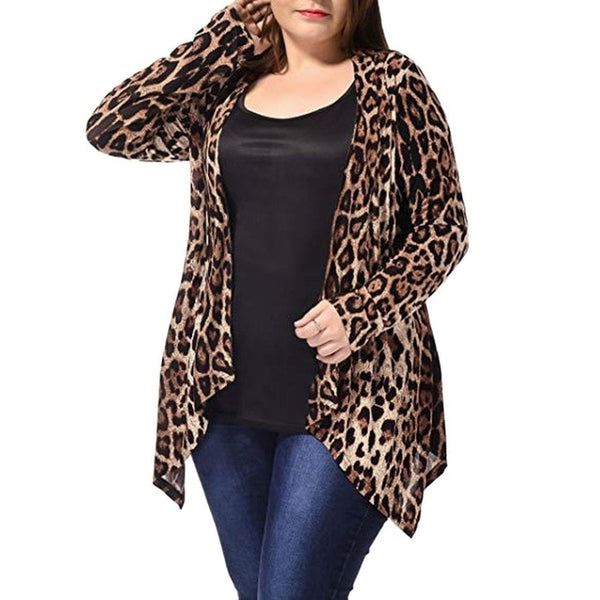 Leopard Print Plus Size Asymmetric Open Front Fashion Cardigan