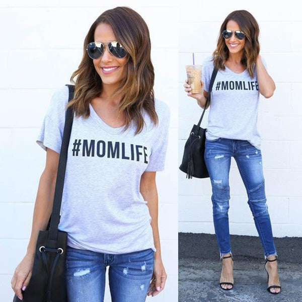 Women Casual MOM LIFE Graphic Round Neck Cotton T-shirt