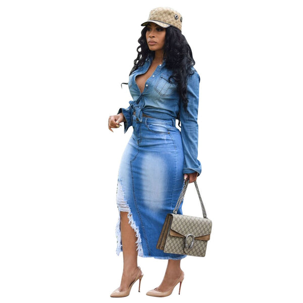 Fashion Long Skirts Women Body-con Denim Jean Skirt