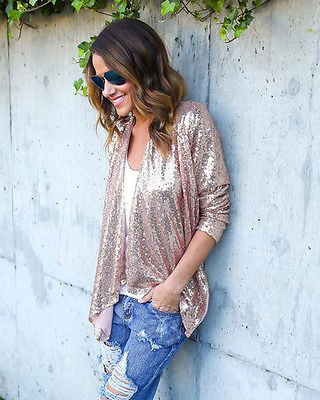 Sequin Glamorous Bling Long Sleeve Cardigan Blouse