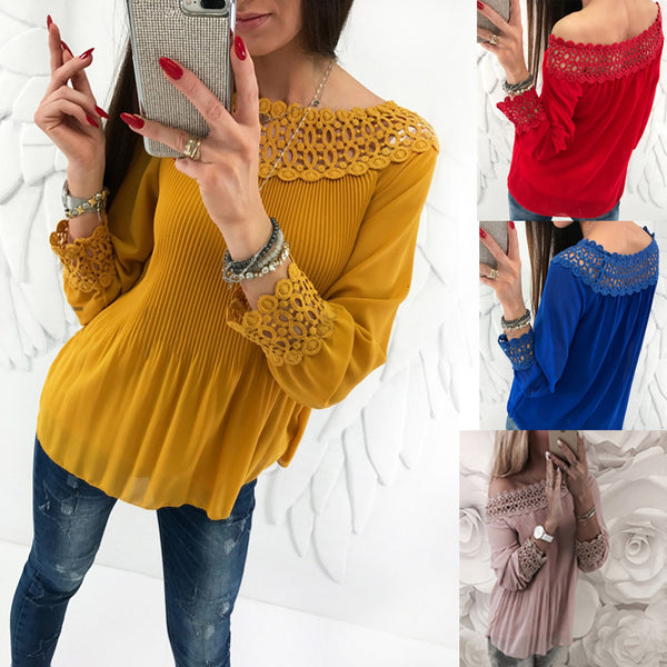 Pleated Chiffon Sexy Long Sleeve Casual Blouse