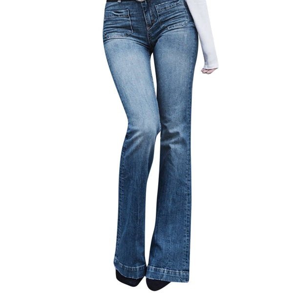 High Waist Denim Pocket Casual Boot Cut Jeans