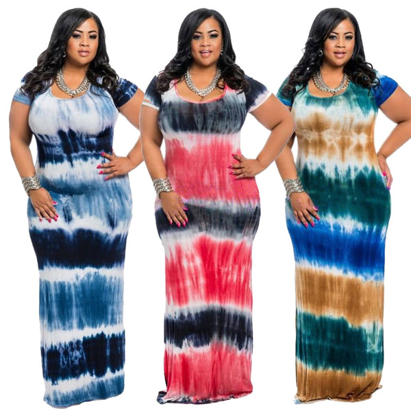 Vintage Women Tie Dye Print Long Plus Size Short Sleeve Round Collar Maxi Bodycon Dresses