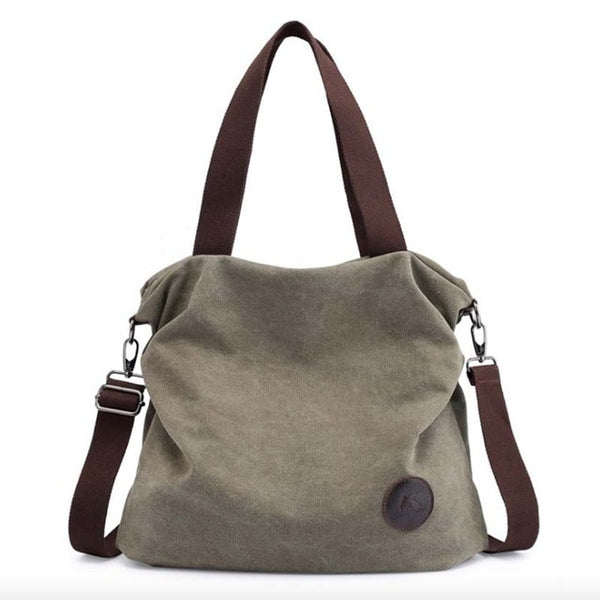 Women's Canvas Large Pocket Casual Shoulder Large Capacity Handbag Tote