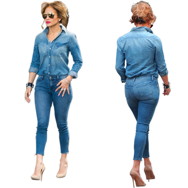 Sexy Denim 2 Piece  Blouse+Bodycon Casual Set