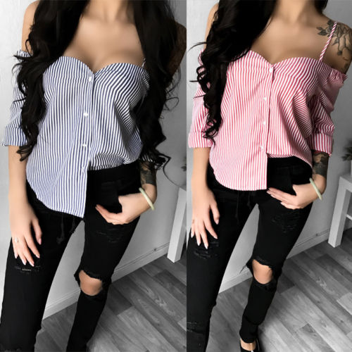 Women Ladies Casual Pin Striped Long Sleeve Off Shoulder Cami Top