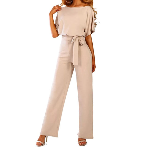 Sexy Loose Solid Long Lace Up Sashes Jumpsuit Rompers
