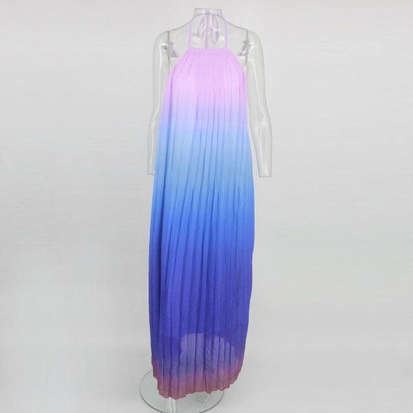 Sleeveless Halter Sexy Pleated Long Chiffon Dress