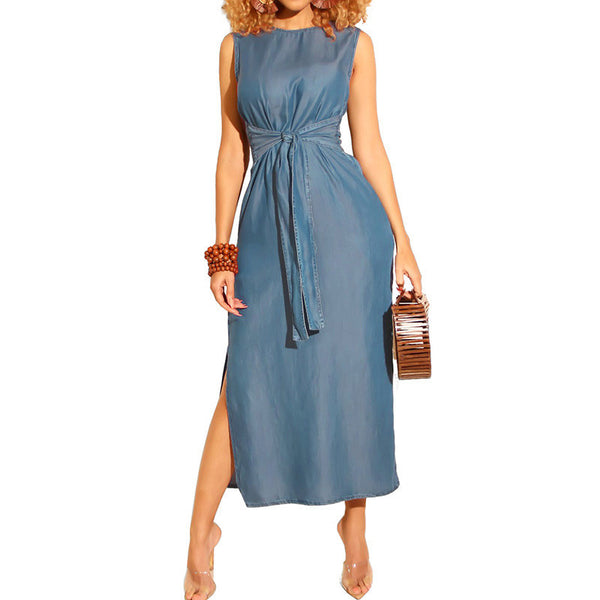 Women Elegant Denim Sexy Sleeveless Straight Casual Denim Jean Belted Dress