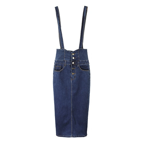 Women's Long Denim  Button Jean High Waist Pencil Skirt With Straps
