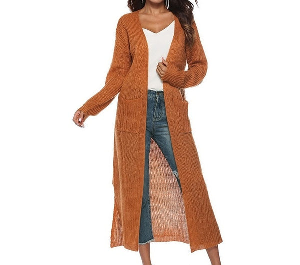 Women Autumn Split Slim Cardigan Long Sleeve Loose Cardigan Women Sweaters