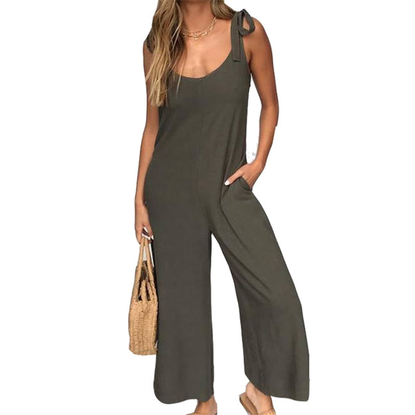 Sexy Women Wide Leg Backless Loose Romper Jumpsuit With Pockets