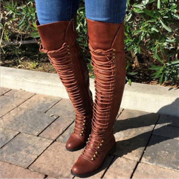 Women's Over Knee High Boot Lace Up Slim Thigh High Heel Shoes Women Long Thigh Boots