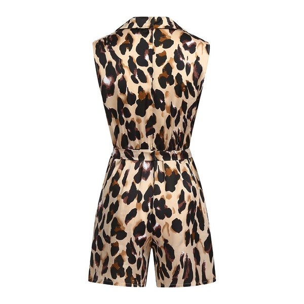 Women Fashion Leopard Chiffon Sleeveless V-neck Casual Jumpsuit Romper