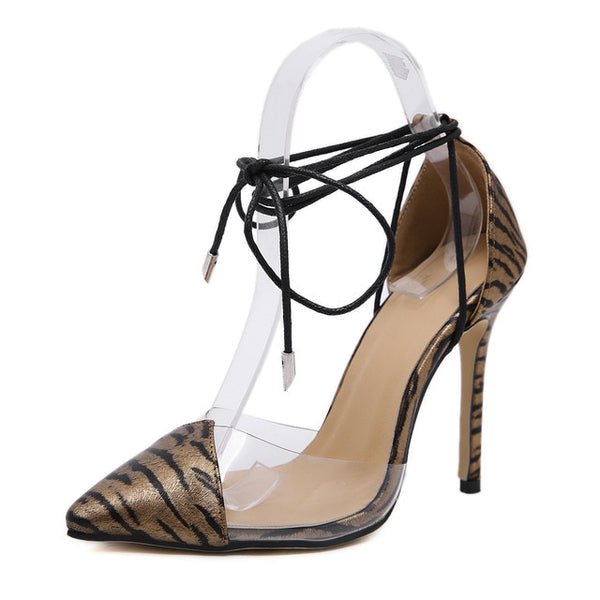 Women Ankle Lace-up Pointed Toe Gladiator High Heels Sexy Transparent Thin High Heel Pumps Shoes
