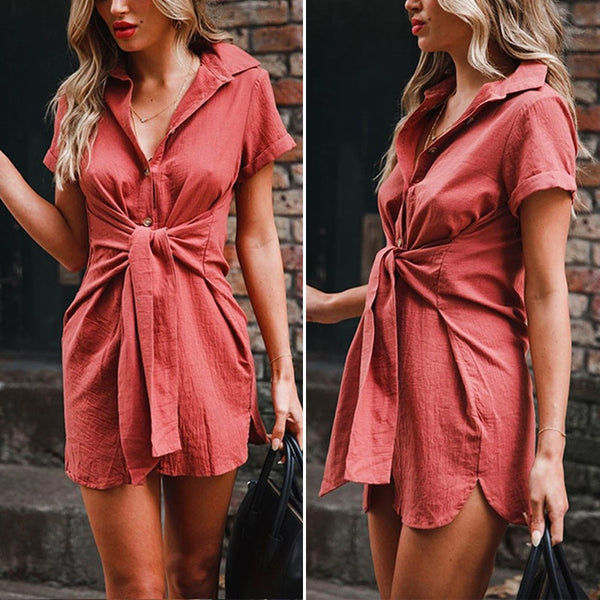 Women Short Sleeve Button Tunic Casual Blouse