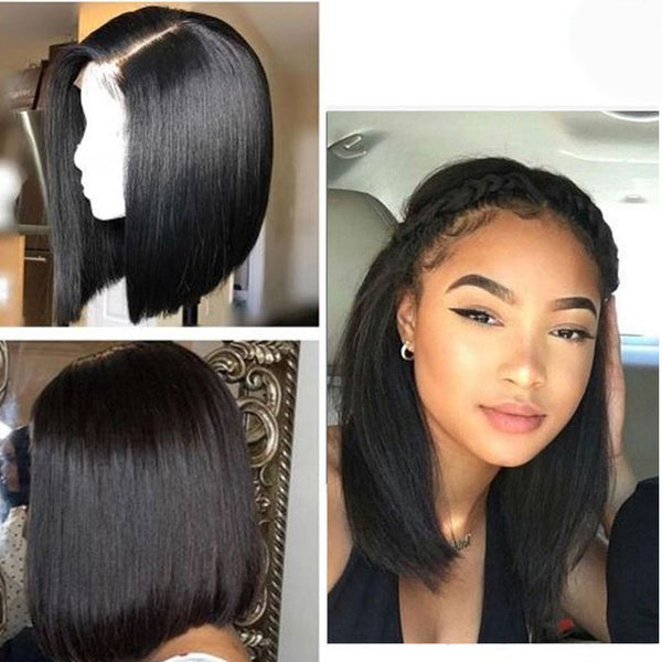 Short Bob Straight Human Remy Hair Lace Front Wig