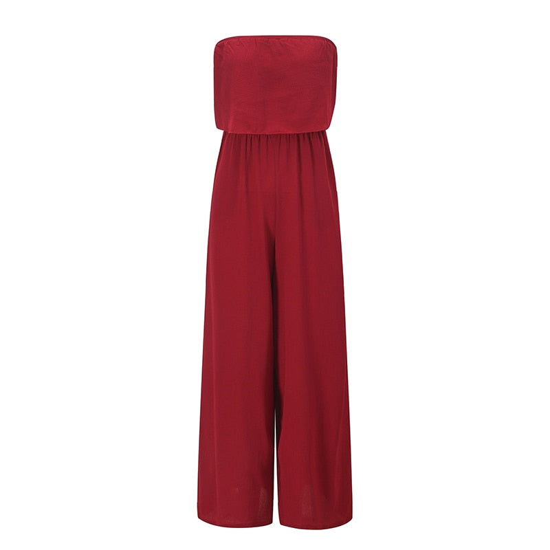 Women Strapless Loose Wide Leg Jumpsuits