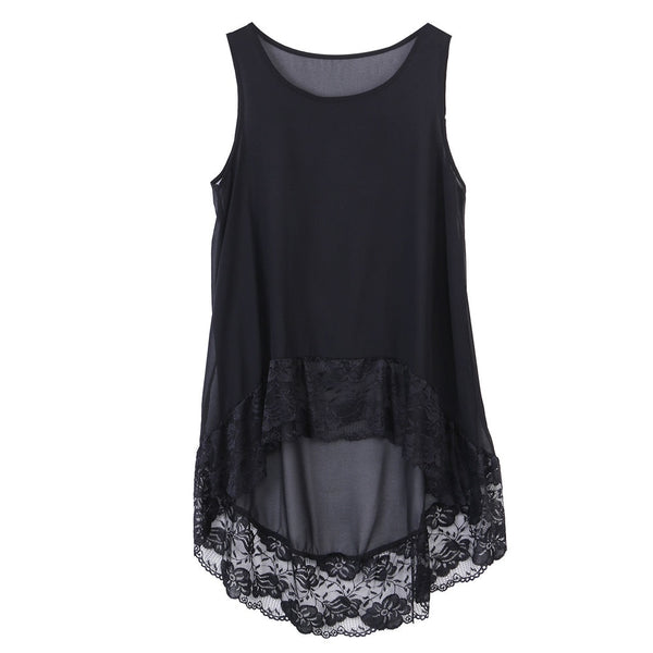 Women Plus Size Solid Chiffon Lace Sleeveless Loose Blouse