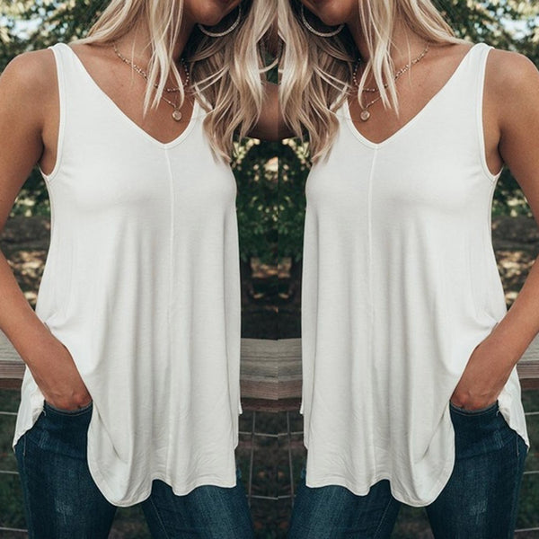Women's Plus Size Summer Fashion Casual Sleeveless Blouse
