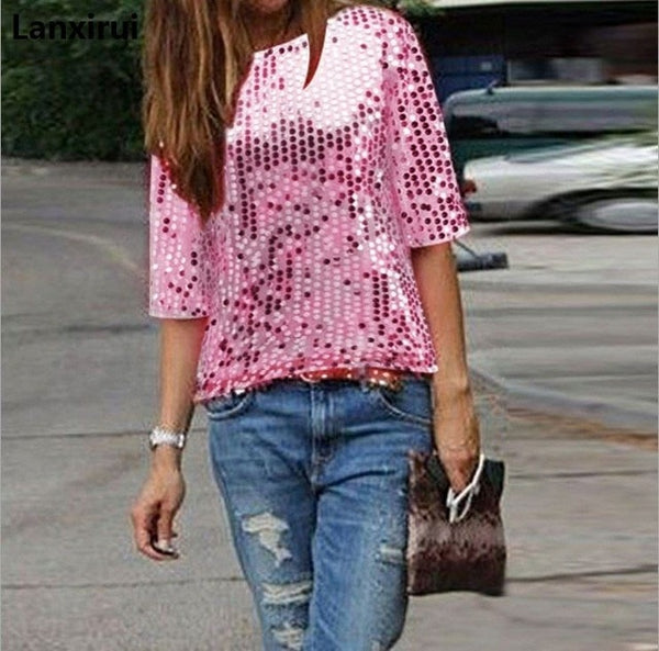 f9a456e0ff9828 Ladies Off -Shoulder Sexy Slim Loose Shirt Top Glistening Sequin Blouse