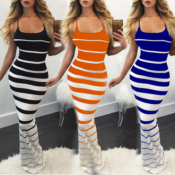 Women Striped Skinny Casual Long Bodycon Dress