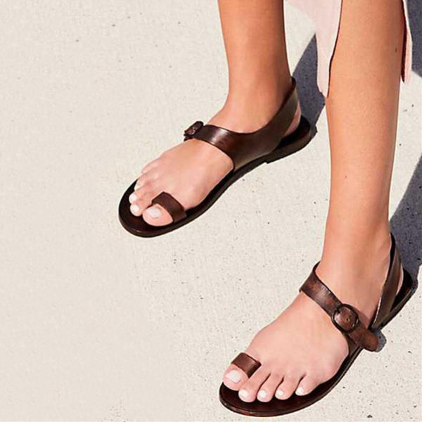 Women Thong Style Flat Buckle Sandal Shoes