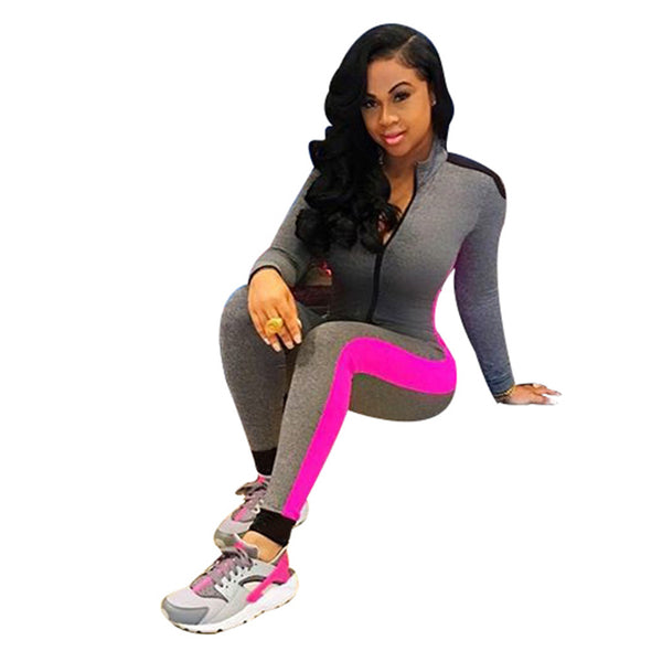 Women Jumpsuit Pink Striped Patchwork Long Sleeve Bodysuit Ladies Casual Workout Jumpsuit Long Pants Bodycon Rompers