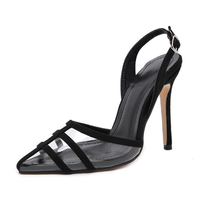 Sexy Closed Pointed Clear High Heels Ladies Sandals Shoes