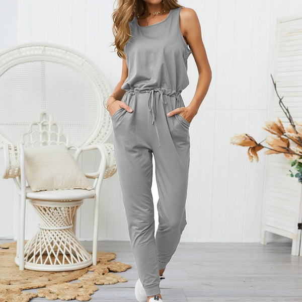 Women Sleeveless Solid Loose Pencil Casual Jumpsuits