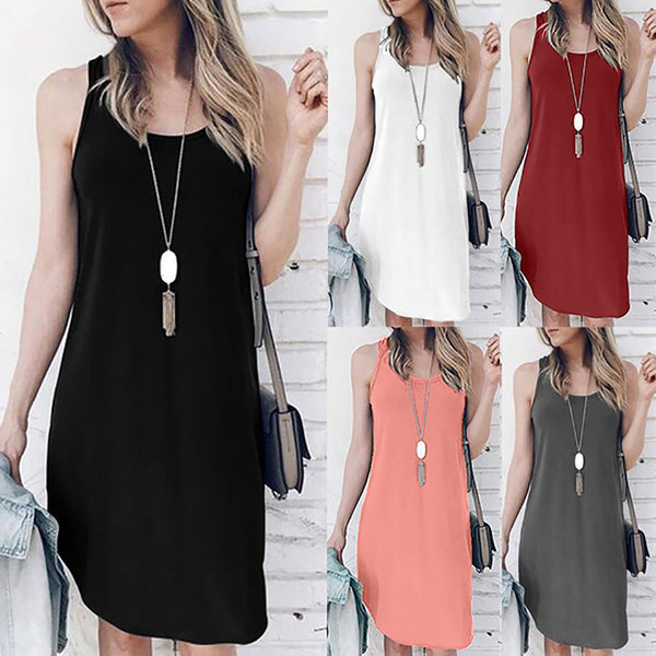 Ladies Solid O-Neck Causal Sleeveless Mini Dress