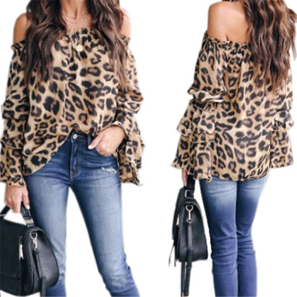 Trendy Women clothes Off Shoulder Leopard Print Blouse