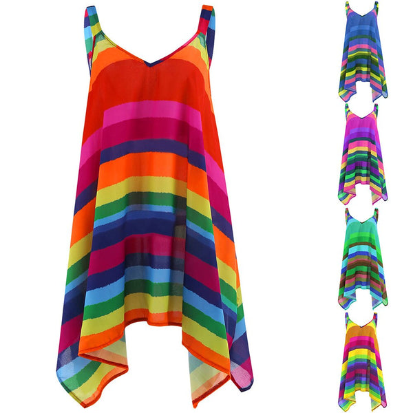 Women Tunic Rainbow Striped Cami Blouses