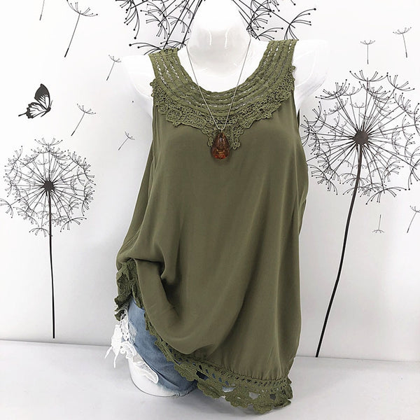 Women Cami Lace Splice Camisole Sexy Sleeveless Blouse
