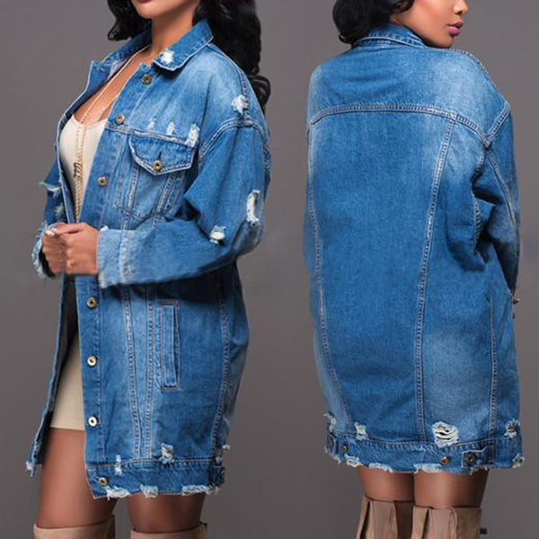 Women Denim Button Down Long Sleeve Jean Jacket