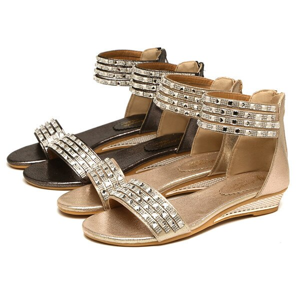 Women Bohemian Style Crystal Causal Sandal Shoes