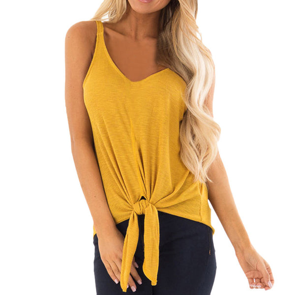 Womens Summer V Neck Casual Sleeveless Blouse