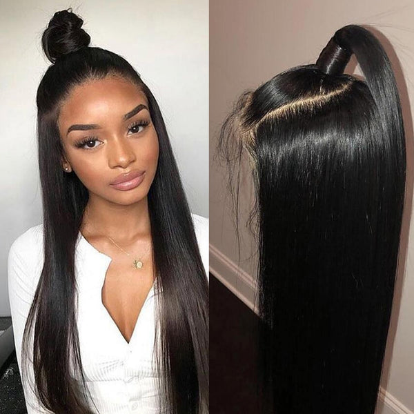 360 Straight Human Hair Free Part Remy Brazilian Lace Wig Lace Frontal Wig