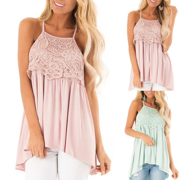 Fashion Women's Sleeveless Lace Fold Summer Blouse