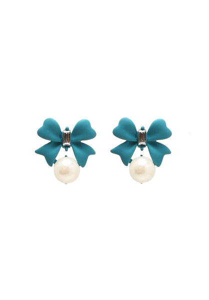 Mi&Ler Charming Bowknot and Pearl Embellished Earrings