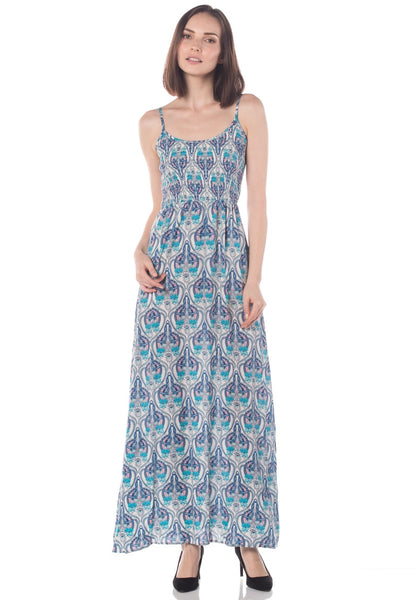 Art Deco Soft Cotton Spaghetti Strap Maxi Dress