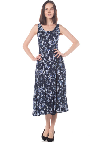 Floral Soft Cotton Flare Ankle Length Dress w Pocket