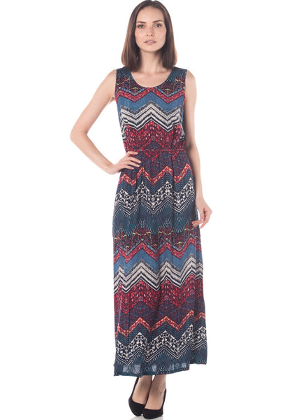 Ethnic Print Soft Cotton Open Back Maxi Dress