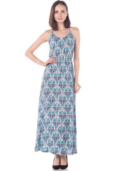 Art Deco Soft Cotton V Neck Maxi Dress