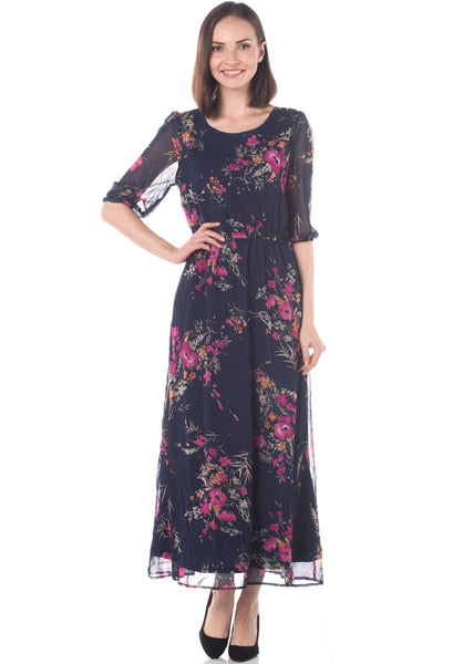 Floral Chiffon 3/4 Sleeves Maxi Dress